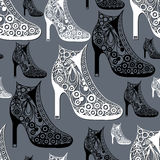 Seamless texture with decorative shoes 28. Seamless abstract background with shoes footwear-ankle boots. Texture pattern for textile, wallpapers, print, wrapping Stock Illustration
