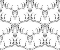 Seamless texture deer skull with horns and boho pattern. Stock Photography