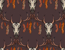Seamless texture deer skull with horns, feathers Stock Photography