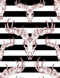 Seamless texture with deer skulls, roses and stripes. Stock Image