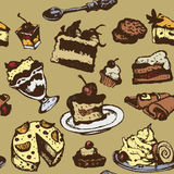 Seamless texture with desserts Royalty Free Stock Image