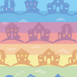 Seamless texture different houses on colour background Royalty Free Stock Photo