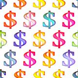 Seamless texture with dollar sign Isolation on a white background