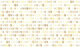 Seamless texture, dollar sign on transparent background, random size, shades of gold color stock illustration