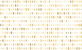 Seamless texture, dollar sign on transparent background, random size, shades of gold color vector illustration