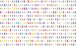Seamless texture, dollar sign on transparent background, random size, shades of multi-colored color vector illustration