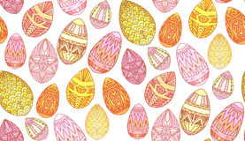 Seamless texture with doodle easter eggs. Royalty Free Stock Image
