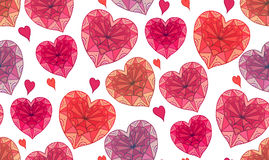 Seamless texture with doodle hearts decorated boho patterns Stock Photography