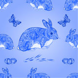 Seamless texture easter blue bunny with butterfly  vector Royalty Free Stock Image