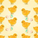 Seamless texture Easter chicks and  Easter eggs vector Stock Photo