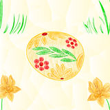 Seamless texture Easter egg  and Daffodil  polygons spring background vector Stock Photography