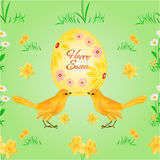 Seamless texture easter eggs and birds vector Stock Photo