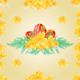 Seamless texture Easter eggs and daffodils vector Royalty Free Stock Photo