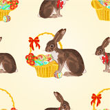 Seamless texture easter hare with basket vector Stock Image