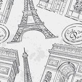Seamless texture with the Eiffel Tower, Royalty Free Stock Image