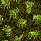 Seamless texture with elephants in Indian style Vector endless background. Green seamless texture with stylized patterned elephants in Indian style Vector floral Royalty Free Stock Photography