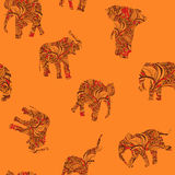 Seamless texture with elephants in Indian style Vector endless background Stock Photo