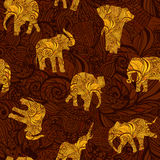 Seamless texture with elephants in Indian style. Vector endless background Stock Photography