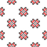 Seamless texture with embroidered black and red ornaments. Seamless texture with black and red ornaments. Embroidery. Cross stitch. Abstract patterns Stock Photos