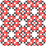 Seamless texture with embroidered black and red ornaments. Seamless texture with black and red ornaments.Embroidery.Cross stitch. Abstract patterns Royalty Free Stock Photo