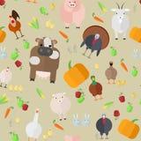 Seamless texture  farm animals  vegetables   Stock Image