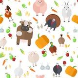 Seamless texture   farm animals   vegetables    on a white Royalty Free Stock Photos
