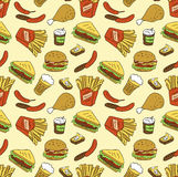 Seamless texture with fast food. Stock Photography