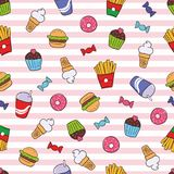 Seamless texture with fast food on  striped background. Handdrawn sketch colored franch fries, ice cream, cake, donut, candy, cola, hamburger. Useful pattern Royalty Free Stock Photography
