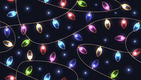 Seamless texture with festive colored lights garlands. Royalty Free Stock Photography