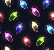 Seamless texture with festive colored lights garlands. Vector background for wrapping paper, wallpaper and your creativity Stock Photos