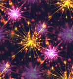 Seamless texture with festive fireworks of hearts. Royalty Free Stock Images