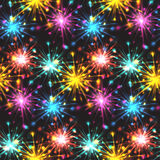 Seamless texture with festive fireworks of hearts. Stock Photo