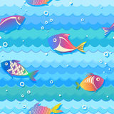 Seamless texture with fish. Seamless texture with iridescent fish under water, bright colors, illustration stock illustration