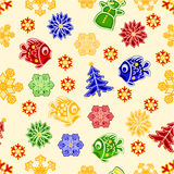 Seamless texture fish and snowflake Christmas decorations vector Royalty Free Stock Photo