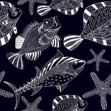 Seamless texture with fish and starfish in cartoon style Royalty Free Stock Image
