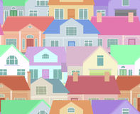 Seamless texture with flat countryside houses. Background for packaging, postcards, and your design Stock Photo
