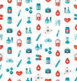 Seamless Texture with Flat Medical Icons, Endless Backdrop Stock Photos