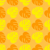 Seamless texture with flat yellow and orange leaves. Monstera. Seamless texture with flat orange and yellow leaves. Monstera.Patterns for cloth Royalty Free Stock Photography