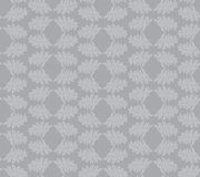 Seamless texture with floral ornament. Seamless pattern with outline leaves on gray background Stock Photo