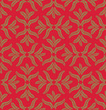 Seamless texture with floral ornament. Seamless pattern with outline leaves on red background Royalty Free Stock Photo