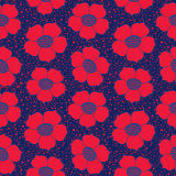 Seamless texture with floral ornament. Seamless floral pattern with red ornamental flowers on dark backgroud Stock Photos