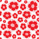 Seamless texture with floral ornament. Seamless floral pattern with red ornamental flowers on white backgroud Royalty Free Stock Images
