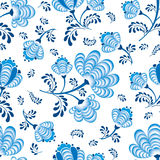 Seamless texture with floral ornament. Seamless pattern blue flowers on white in russian style Gzhel Royalty Free Stock Images