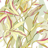Seamless texture with floral ornament. Abstract flower lily ornamental  seamless background. Flourish seamless texture. Summer seamless pattern. Floral lightning Royalty Free Stock Photo