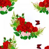 Seamless texture floral  red  Roses  and butterfly vintage  festive  background vector illustration Stock Photo