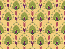 Seamless texture with floral theme. Seamless pattern with floral motif on yellow background Stock Image