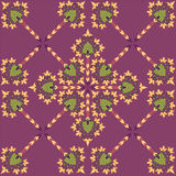 Seamless texture with floral theme. Seamless pattern with floral motif on violet background Royalty Free Stock Photos