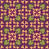 Seamless texture with floral theme. Seamless pattern with floral motif on violet background Royalty Free Stock Image