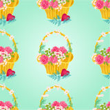 Seamless texture Flower basket vector Royalty Free Stock Images