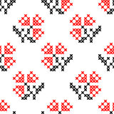Seamless texture of flowers. Seamless texture of abstract flat red black flowers.Lily of the valley Stock Images